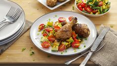 Tomato and Corn Succotash with Grilled Chicken Drumsticks