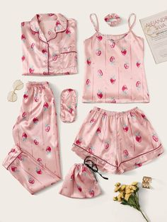 Shop Strawberry Print Satin Pajama Set at ROMWE, discover more fashion styles online. Cute Pajama Sets, Cute Pjs, Cute Pajamas, Pj Sets, Satin Pyjama Set, Satin Pajamas, Pajama Outfits, Pajama Shorts, Yoga Shorts