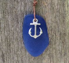 Anchor Sapphire Blue Sea Glass Necklace  by Wave of by WaveofLife, $16.00