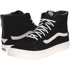 Vans SK8-Hi Slim Zip Black/Gold) Skate Shoes (€73) ❤ liked on Polyvore featuring shoes, sneakers, grip trainer, vans sneakers, gold high top sneakers, high top shoes and gold sneakers
