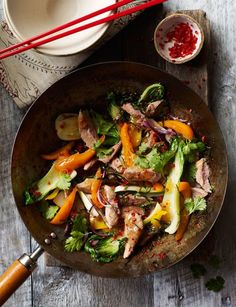 Thai-style duck stir-fry with lime. Quick asian stir fry ready in just 20 minutes, perfect for a mid week meal. Serves 2