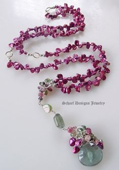Moss Aquamarine, watermelon tourmalines & keishi pearls layering necklace by Schaef Designs Jewelry