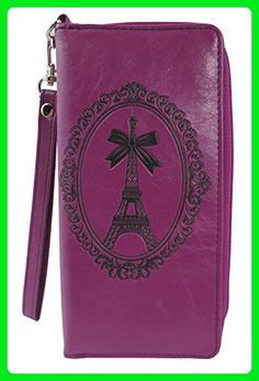 French Kiss Paris Eiffel Tower Embossed Zip Around Wristlet Large Wallet (Purple) - Wallets (*Amazon Partner-Link)