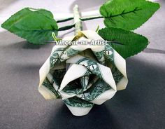 Origami flowers roses money flower gift good luck souvenire cash money graduation gift ideas rose flower origami made from dollar bills by vincent the artist etsy mightylinksfo