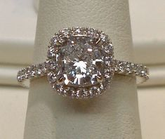 antique Cushion cut halo diamond ring 4.25 ct.diamond pave ring. @Lydia Tresch, this is perfection