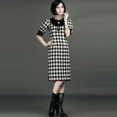 Black And White Plaid Vintage Style Dresses - $309 - SKU: 458068 - Buy Now: http://elegente.com/nzx.html #ChineseladyQipao #Qipao #Cheongsam
