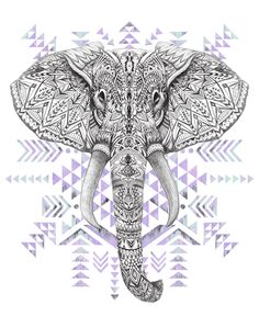 Color background-aztec-elephant #graphic #art #hand drawing