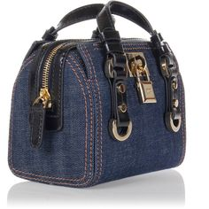 Dsquared2 Denim mini handbag with Padlock Detail ($290) ❤ liked on Polyvore featuring bags, handbags, shoulder bags, blue handbags, mini handbags, denim handbags, hand bags and man bag