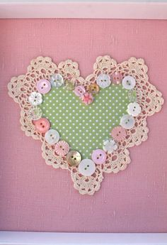 My fav colours in one of my own Artworks! My linen heart collage combines my love of gorgeous natural fabric, vintage doilies and pretty pastel buttons!