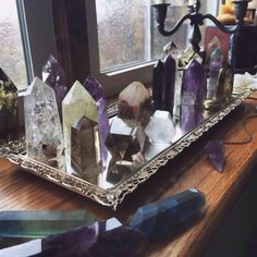 Crystals on a silver serving tray