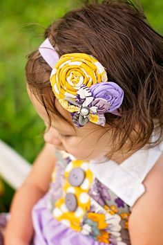 headband small petite lavender mustard rolled rosette by verosjoy, $15.00