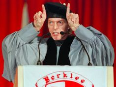 """David Bowie Berklee College Music Commencement Speech. """"what I found that I was good at doing, and what I really enjoyed the most, was the game of 'what if?' What if you combined Brecht-Weill musical drama with rhythm and blues? What happens if you transplant the French chanson with the Philly sound? Will Schoenberg lie comfortably with Little Richard? Can you put haggis and snails on the same plate? Well, no, but some of the ideas did work out very well."""""""