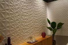 parede com revestimento em alto-relevo da Portinari - Expo Revestir 2014 Concrete Wall Texture, Tiles Texture, Home Interior, Interior Design, Adobe House, 3d Wall Panels, Ceramic Wall Tiles, Loft Design, Rustic Walls