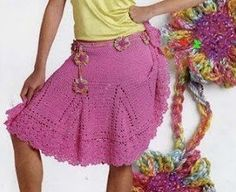 Fuschia Skirt free crochet graph pattern