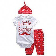 Short Sleeve Baby Mustache Clothes Sets Little Brother Romper Casual Long Pants Cute Outfit Little Boy Outfits, Outfits With Hats, Cute Outfits For Kids, Baby Boy Outfits, Cute Newborn Baby Girl, Baby Boys, Baby Set, Baby Mustache, Baby Born