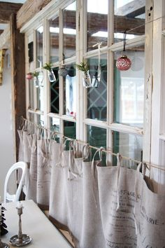 Kitchen window Love these cafe curtains with the French script. This would look great in the sunroom/office! Cabin Curtains, Drapes Curtains, Kitchen Curtains, Beautiful Kitchens, Cool Kitchens, Window Coverings, Window Treatments, Sunroom Office, House Blinds