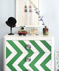 green chevron dresser