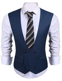 Coofandy Men's U-neck Slim Fit Leisure Business Suit Vest Waistcoat for Wedding, Dinner&Date