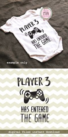 Player 3. Funny pregnancy announcement. Cricut file by LoveRiaCharlotte on Etsy