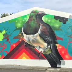 KERERU - the worlds largest wood pigeon is native to Aotearoa New Zealand. Detail shot of a new mural for Papakura (red earth). Art Maori, Wood Pigeon, Kiwi, New Art, Worlds Largest, New Zealand, Nativity, Arts And Crafts, Earth