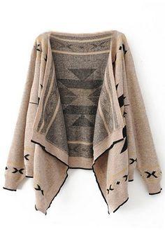 Asymmetric Hem Tribal Style Light Coffee Cardigan cc1045289
