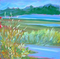 © Pam Van Londen 2010, Estuary 2, 8×8 oil on claybord