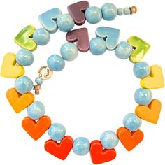 Parrot Pearls Ceramic Heart Choker Necklace in Blues and Oranges