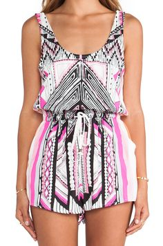 MINKPINK Mayan Temple Playsuit in Neon Pink