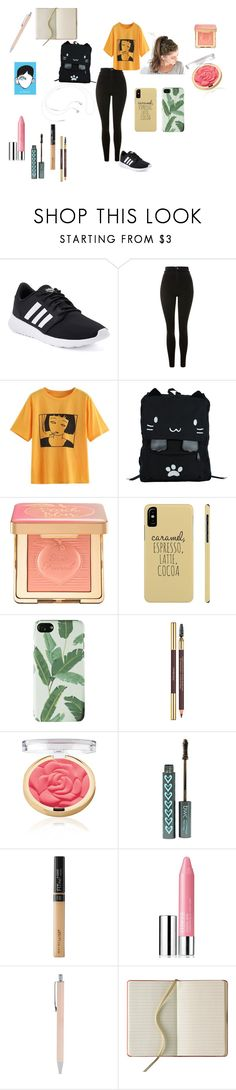 """""""School day"""" by eno-scarlet ❤ liked on Polyvore featuring adidas, Topshop, Too Faced Cosmetics, Yves Saint Laurent, Maybelline, Clinique and Forever 21"""