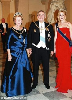 The Greek Royal Family arrive for a Galadinner at Christiansborg Palace-Queen Anne Marie, King Constantine, and Princess Theodora
