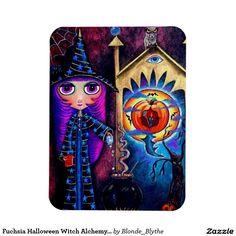 Fuchsia Halloween Witch Alchemy Owl Big Eyes Rectangular Photo Magnet