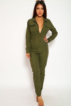 58a8719aec4 Sexy Olive Long Sleeve Button Up Casual Jumpsuit