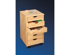 Roll-Container mit 6 Schubladen Maße: B 36 x T 40 x H 65 cm    - Material: Massivholz Kiefer    - Farbe: natur lackiert    - auf Rollen / rollbar    - 6 Schubladen    - inkl. ausführlicher Aufbauanleitung