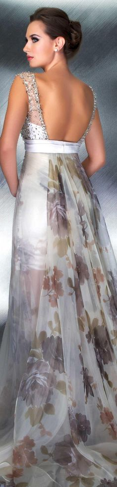 Mac Duggal couture dress beige COUTURE DRESSES STYLE 55002D ♥ BACK