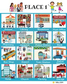 Places in the City Vocabulary in English (with Pictures) Places in the City! Useful names of things in the city with pictures and examples. Learn these city vocabulary words to improve your vocabulary in English. Learning English For Kids, Kids English, English Study, Teaching English, English Conversation Learning, Esl Learning, English Vocabulary Words, Learn English Words, English Lessons
