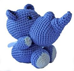 Rhino pattern by Elizabeth Jayne can be made using double knit or 4ply which will change the size of the finished item. It is necessary to keep stitches fairly tight so that the stuffing will not show through. Safety eyes are recommended, especially if making as a gift for a baby or young child. 100g ball will make at least 2 animals and a small amount of scrap can be used for the contracting colour. Double Knitting, Stuffing, Stitches, Pattern Design, At Least, Dinosaur Stuffed Animal, Safety, Crochet Patterns, Scrap