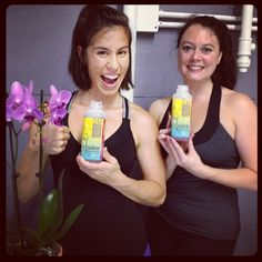 Veda Yoga owner Becky Cawood and her pal Emoly Simmons-- loving #Chuice! #healthy #convenient #futureoffastfood #nutrition #veggies #fruits #nuts #herbs #seeds #eatchuice #yoga #atlanta #namaste