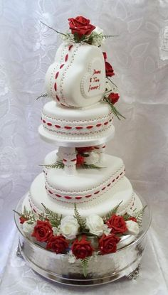 4 Tier Wedding Cake Red And Ivory Colour With A Heart Theme Edible Lace With Hand Painted Highlights And Royal Icing Pearls Its The Fi on Cake Central