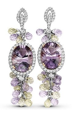 Lilac Dew - Earrings, 18k silky white gold pairs with over 28 carats in amethyst stones which are highlighted with diamonds for an exceptional lilac dew of color.