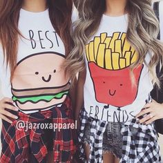 There are 4 tips to buy t-shirt, bff, best friend shirts, best friends burger and fries. Bff Shirts, Best Friend T Shirts, Best Friend Outfits, Cool Shirts, Best Friend Clothes, Matching Outfits Best Friend, Cute Clothing Stores, Urban Fashion Trends, Fashion Ideas