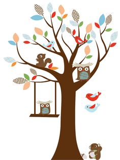 Kids tree vinyl wall decal with squirrel  owls and by wallinspired .  This will match his bedding perfectly!!!