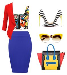 A fashion look from April 2016 featuring white top, red blazer and midi skirt. Browse and shop related looks. Pencil Skirt Outfits, Crop Top Outfits, Edgy Outfits, Colourful Outfits, Colorful Fashion, Love Fashion, Fashion Outfits, Mundo Fashion, Party Mode