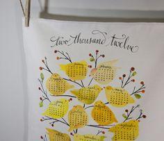 Birds and Berries tea towel calendar by LisaEkstrom