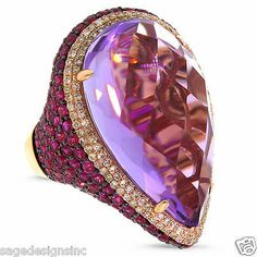 31.89CT 14K Rose Gold Cabochon Pear Purple Amethyst Pink Sapphire Diamond Ring