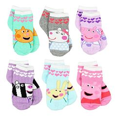 Join Peppa Pig on new adventures with the Muddy Puddle Club wearing these adorable Yankee Toy Box exclusive no show or quarter style socks! Six pairs in each set provide variety and excitement with each pair featuring different colors and graphics of your Little Girl Outfits, Little Girls, Rebecca Rabbit, Pig Girl, Pig Character, Toddler Shoes, Toddler Girls, 6 Pack, Pink Socks