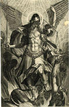 Miguel el pesador de almas en lucha contra Lucifer, artista y ubicación desconocida.