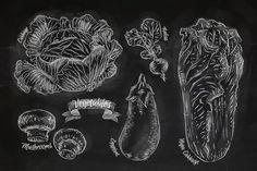 Vegetables chalk by Anna on @creativemarket