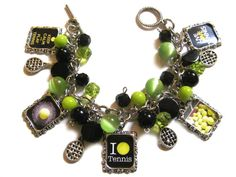 I Love Tennis Altered Art Charm Bracelet by MoonstruckBoutique, $30.00