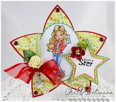 Shape EZ Star Spangled card (cutting file) and Kenny K Glam Gang girl Jasmine.