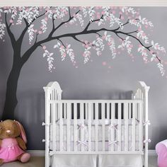 Weeping Willow Tree Decal for your baby nursery. Subtle weeping willows and cherry blossoms in a tree wall decal. Weeping Willow Tree Decal with Cherry Blossoms, Baby Girls Nursery Wall Decal, Willow Tree Wall Decal, Nursery Decoration 1117 Weeping Willow, Willow Tree, Cherry Blossom Tree, Blossom Trees, Cherry Blossom Nursery, Cherry Tree, Tree Decals, Vinyl Decals, Nursery Wall Decals